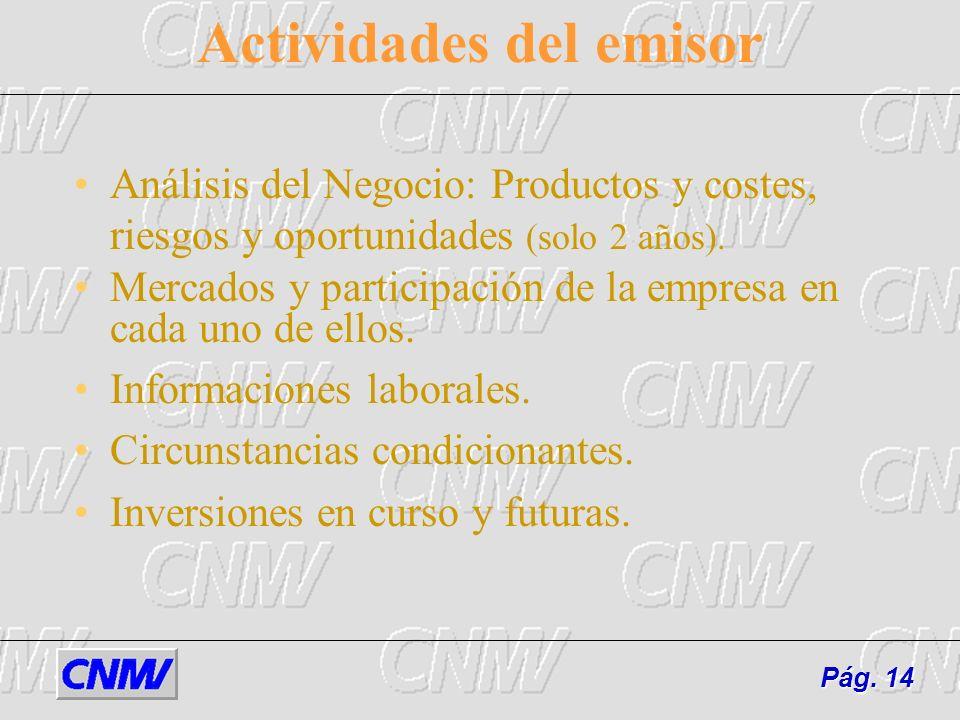 Actividades del emisor Análisis del Negocio: Productos y costes, riesgos y oportunidades (solo 2 años). Mercados y participación de la empresa en cada