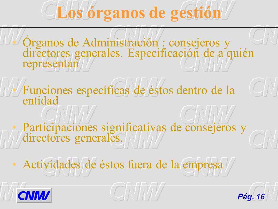 Los órganos de gestión Órganos de Administración : consejeros y directores generales. Especificación de a quién representan Funciones específicas de é