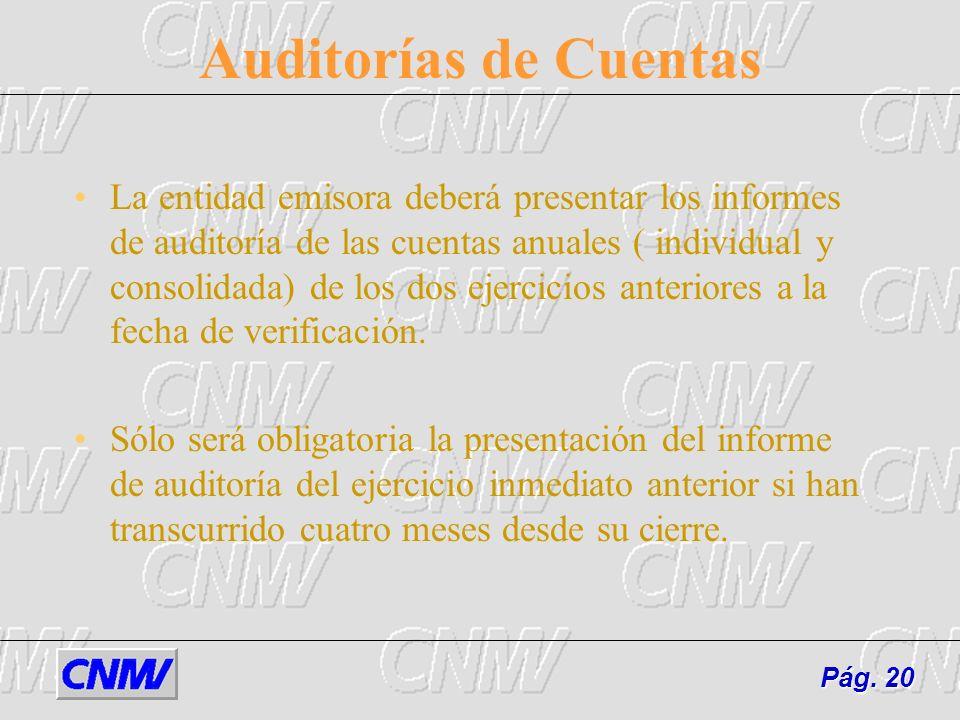 Auditorías de Cuentas La entidad emisora deberá presentar los informes de auditoría de las cuentas anuales ( individual y consolidada) de los dos ejer