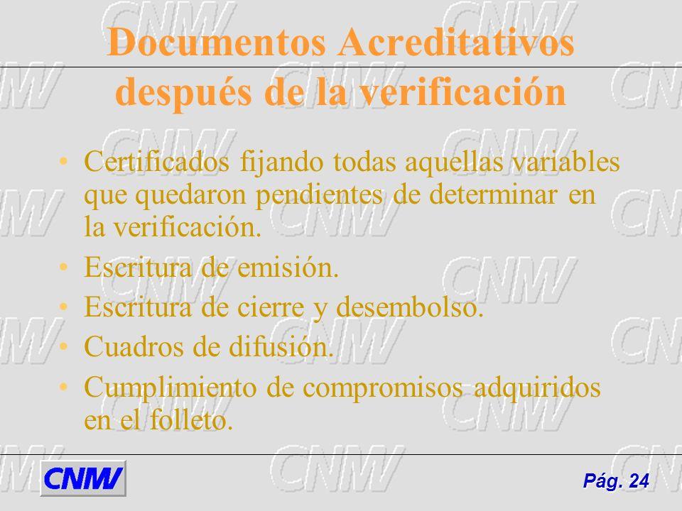 Documentos Acreditativos después de la verificación Certificados fijando todas aquellas variables que quedaron pendientes de determinar en la verifica