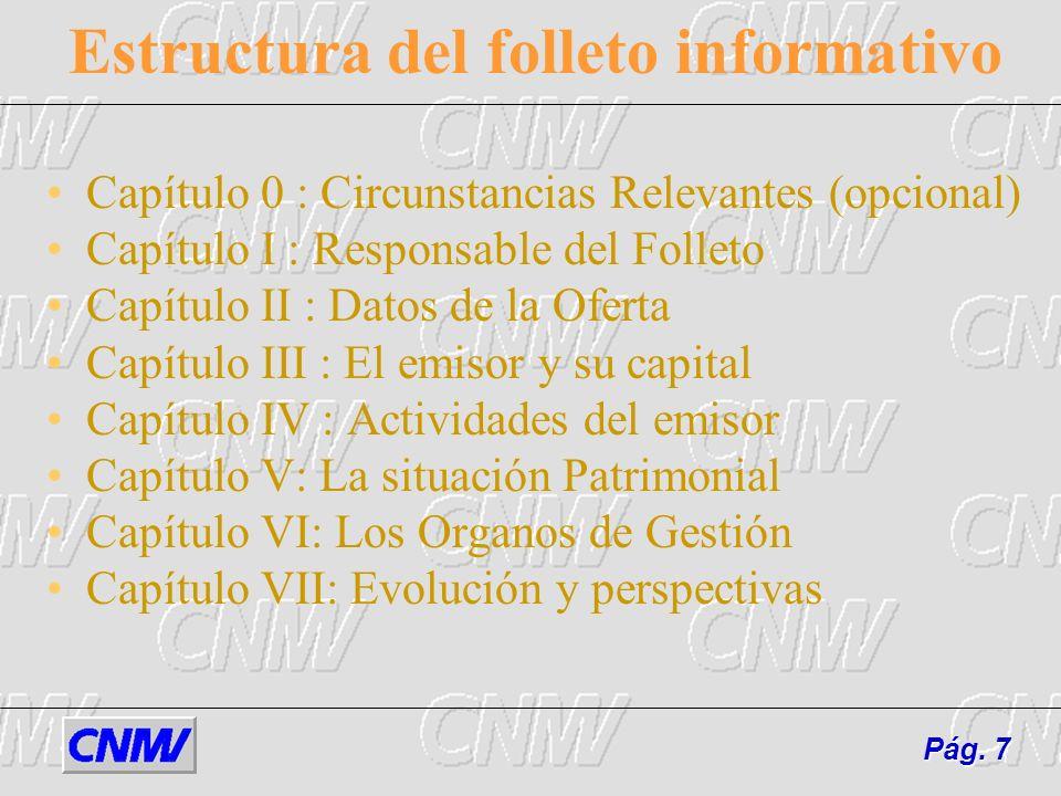 Estructura del folleto informativo Capítulo 0 : Circunstancias Relevantes (opcional) Capítulo I : Responsable del Folleto Capítulo II : Datos de la Of