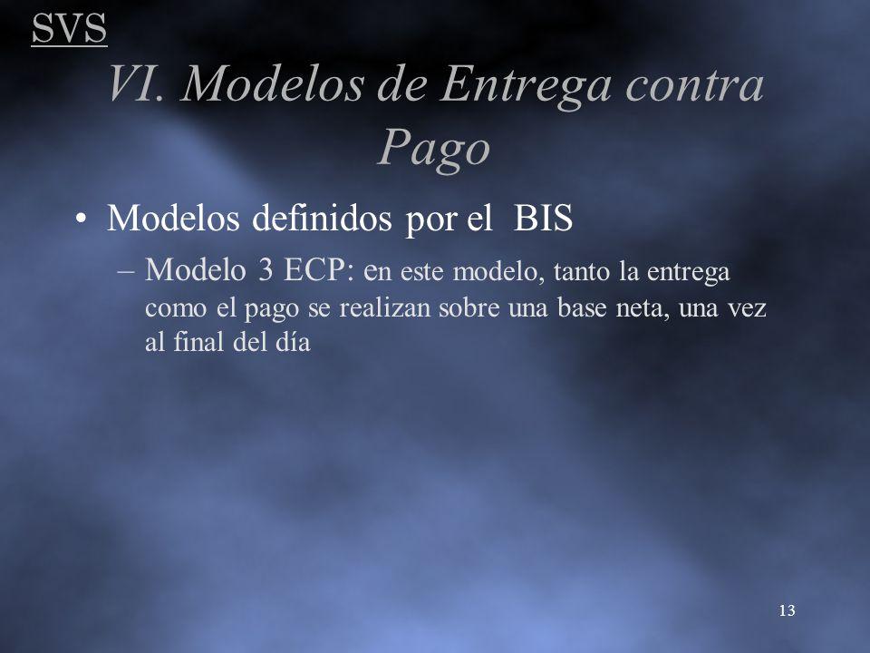 SVS 13 Modelos definidos por el BIS –Modelo 3 ECP: e n este modelo, tanto la entrega como el pago se realizan sobre una base neta, una vez al final de