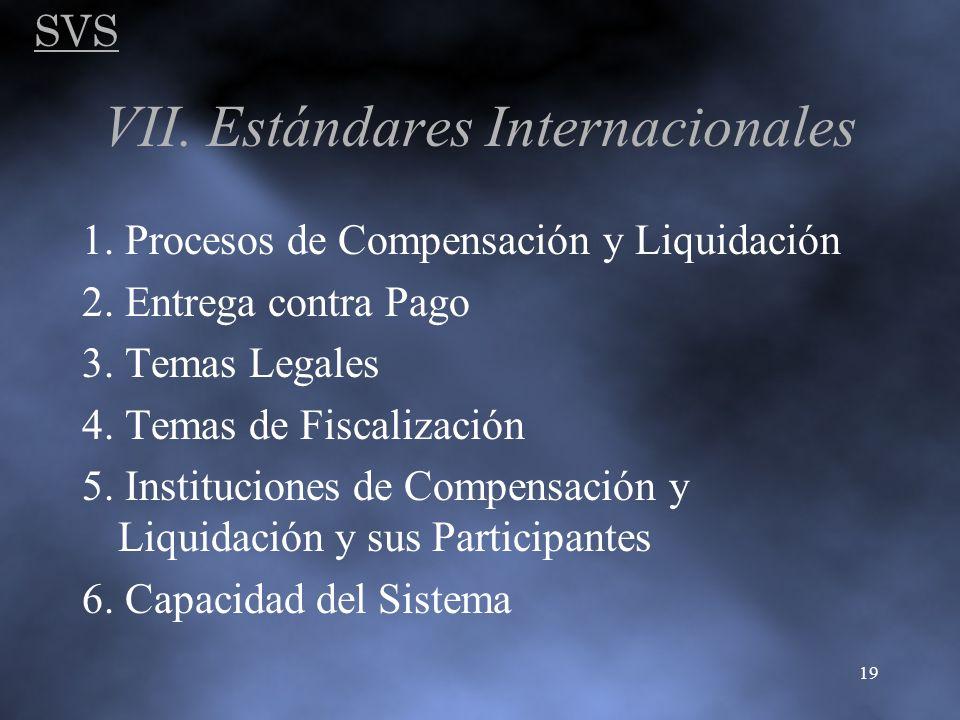 SVS 19 VII. Estándares Internacionales 1. Procesos de Compensación y Liquidación 2. Entrega contra Pago 3. Temas Legales 4. Temas de Fiscalización 5.