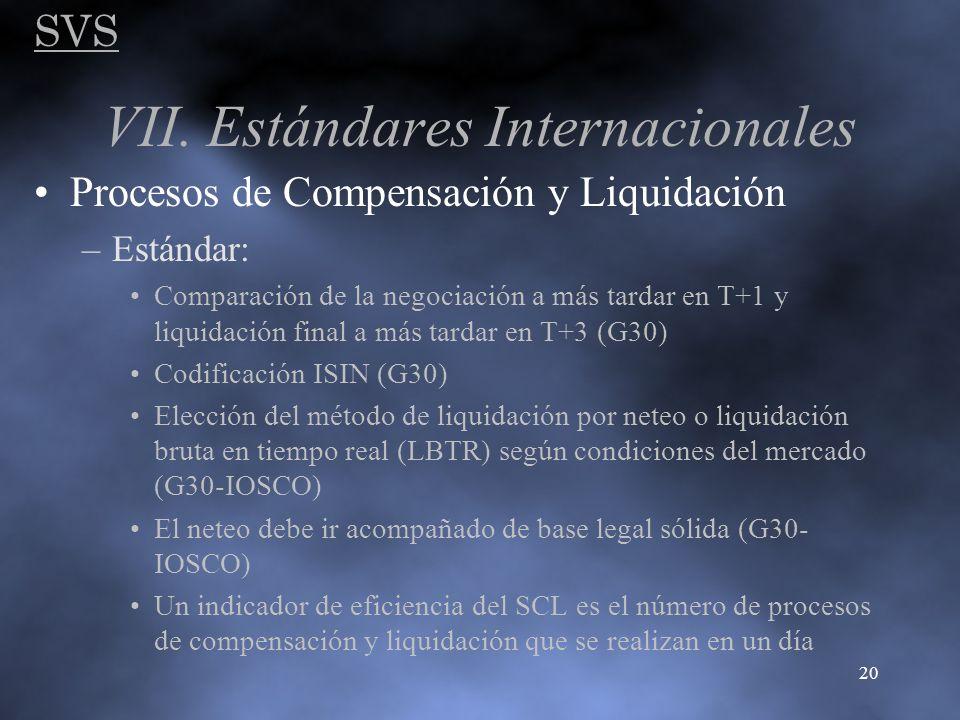 SVS 20 VII. Estándares Internacionales Procesos de Compensación y Liquidación –Estándar: Comparación de la negociación a más tardar en T+1 y liquidaci