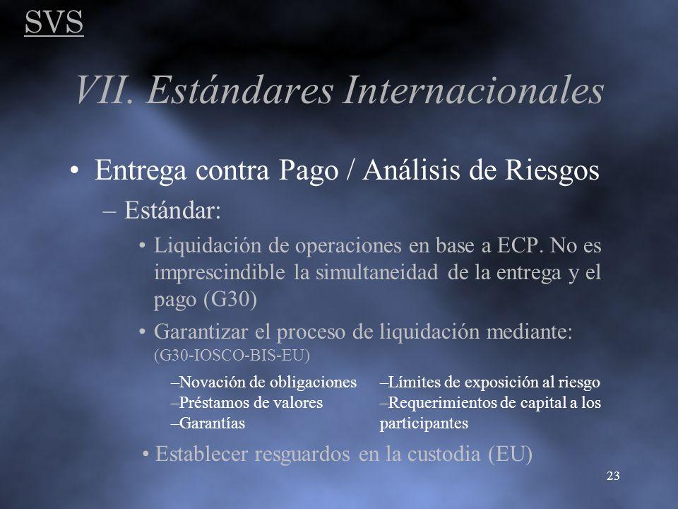 SVS 23 VII. Estándares Internacionales Entrega contra Pago / Análisis de Riesgos –Estándar: Liquidación de operaciones en base a ECP. No es imprescind