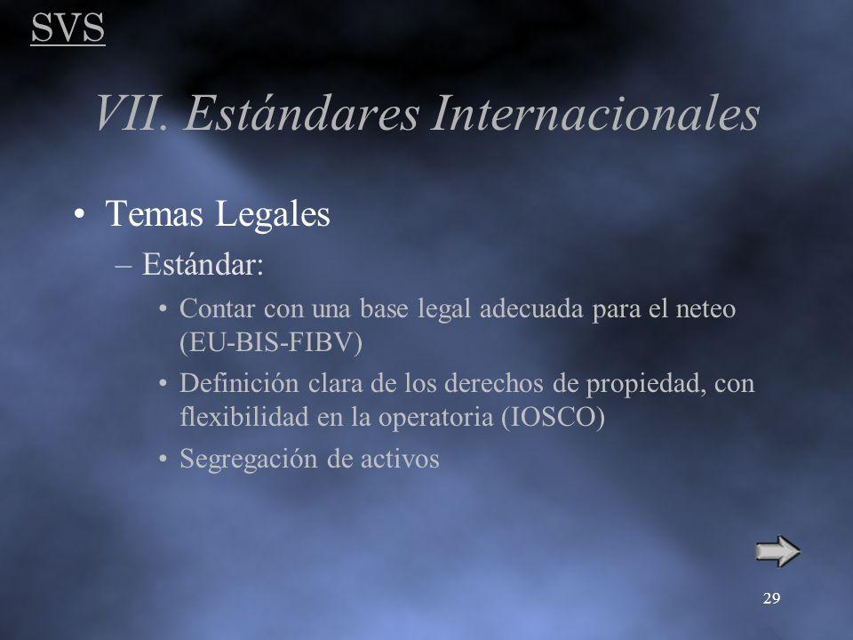 SVS 29 VII. Estándares Internacionales Temas Legales –Estándar: Contar con una base legal adecuada para el neteo (EU-BIS-FIBV) Definición clara de los
