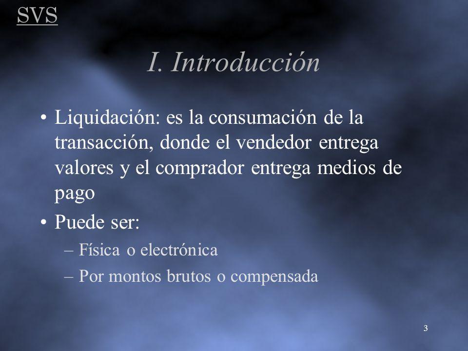 SVS 3 I. Introducción Liquidación: es la consumación de la transacción, donde el vendedor entrega valores y el comprador entrega medios de pago Puede