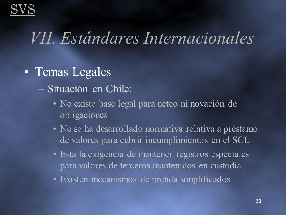 SVS 31 VII. Estándares Internacionales Temas Legales –Situación en Chile: No existe base legal para neteo ni novación de obligaciones No se ha desarro