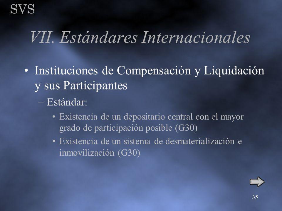 SVS 35 VII. Estándares Internacionales Instituciones de Compensación y Liquidación y sus Participantes –Estándar: Existencia de un depositario central