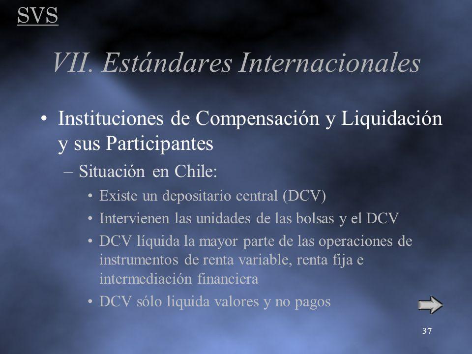 SVS 37 VII. Estándares Internacionales Instituciones de Compensación y Liquidación y sus Participantes –Situación en Chile: Existe un depositario cent