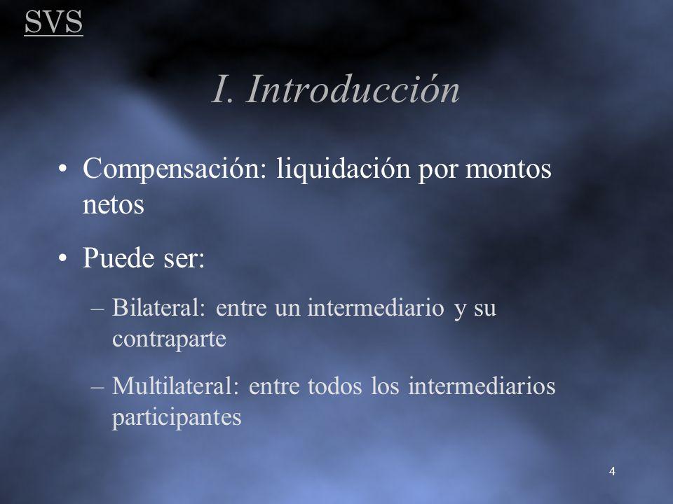 SVS 4 I. Introducción Compensación: liquidación por montos netos Puede ser: –Bilateral: entre un intermediario y su contraparte –Multilateral: entre t