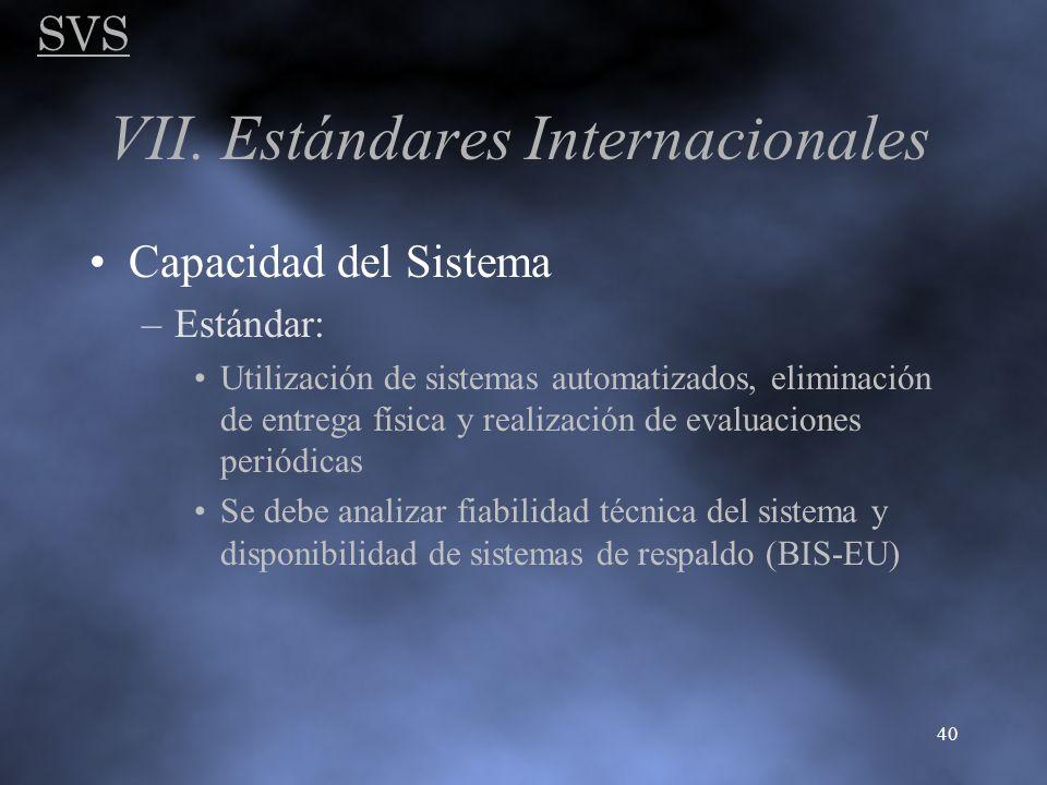 SVS 40 VII. Estándares Internacionales Capacidad del Sistema –Estándar: Utilización de sistemas automatizados, eliminación de entrega física y realiza