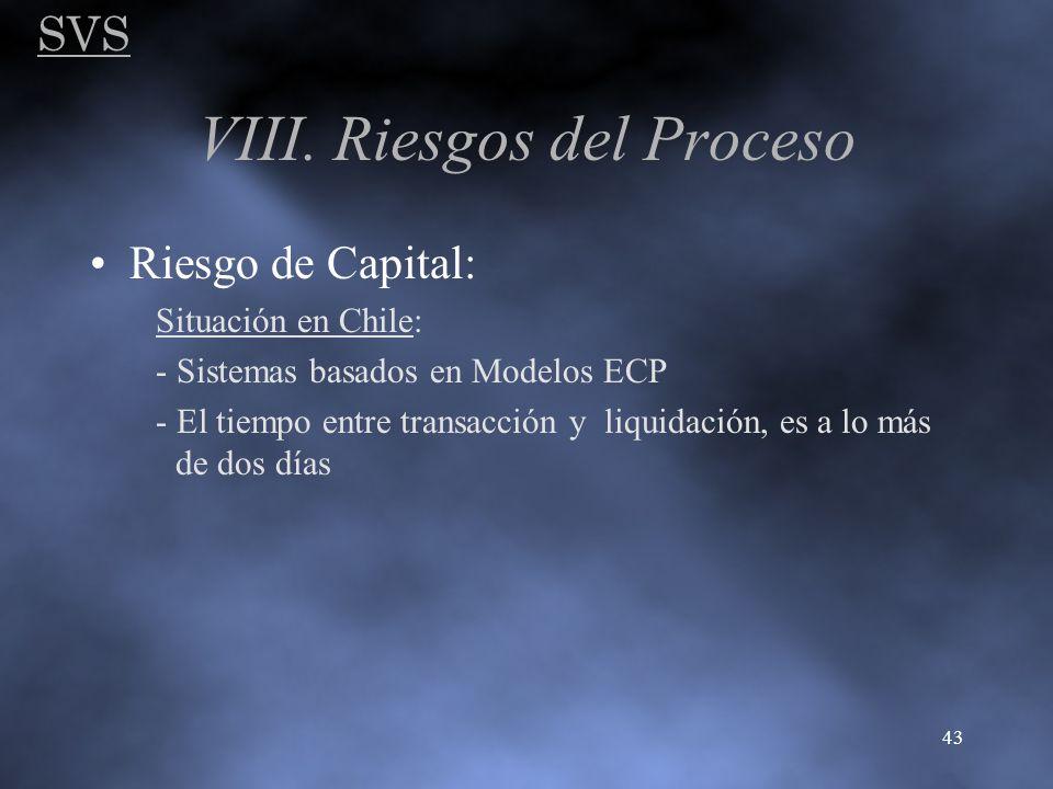SVS 43 VIII. Riesgos del Proceso Riesgo de Capital: Situación en Chile: - Sistemas basados en Modelos ECP - El tiempo entre transacción y liquidación,
