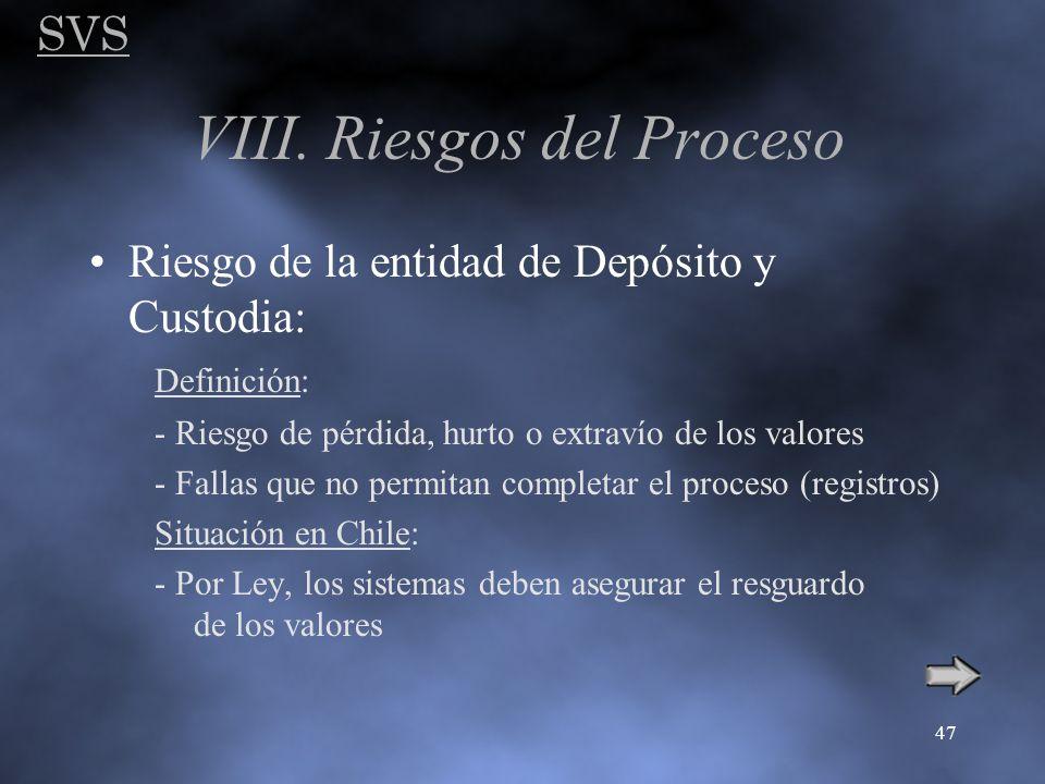 SVS 47 VIII. Riesgos del Proceso Riesgo de la entidad de Depósito y Custodia: Definición: - Riesgo de pérdida, hurto o extravío de los valores - Falla
