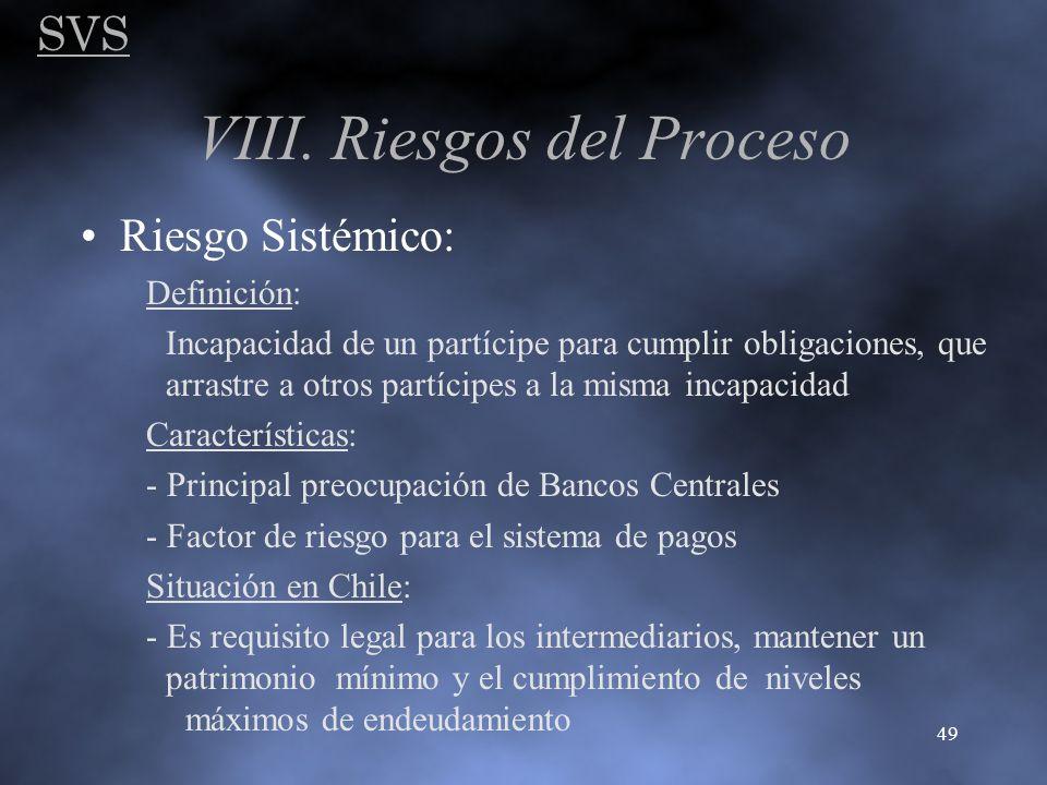 SVS 49 VIII. Riesgos del Proceso Riesgo Sistémico: Definición: Incapacidad de un partícipe para cumplir obligaciones, que arrastre a otros partícipes