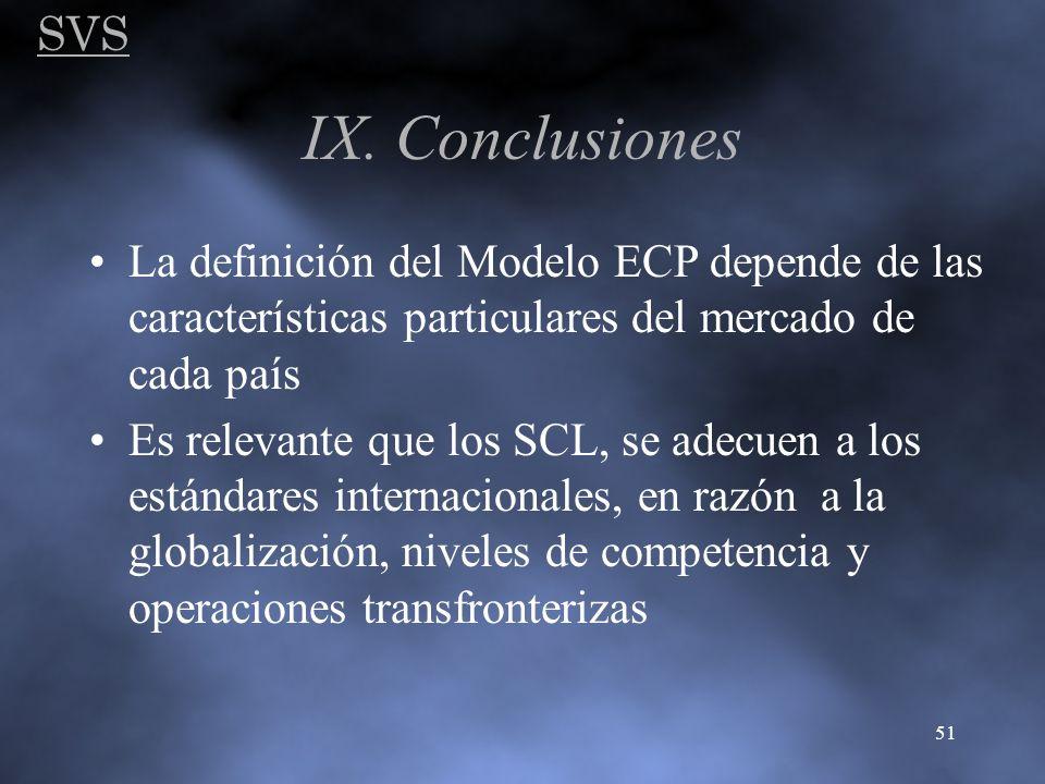 SVS 51 IX. Conclusiones La definición del Modelo ECP depende de las características particulares del mercado de cada país Es relevante que los SCL, se