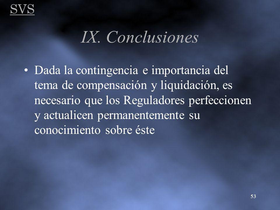 SVS 53 IX. Conclusiones Dada la contingencia e importancia del tema de compensación y liquidación, es necesario que los Reguladores perfeccionen y act