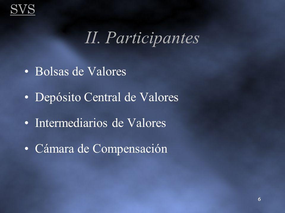 SVS 6 II. Participantes Bolsas de Valores Depósito Central de Valores Intermediarios de Valores Cámara de Compensación