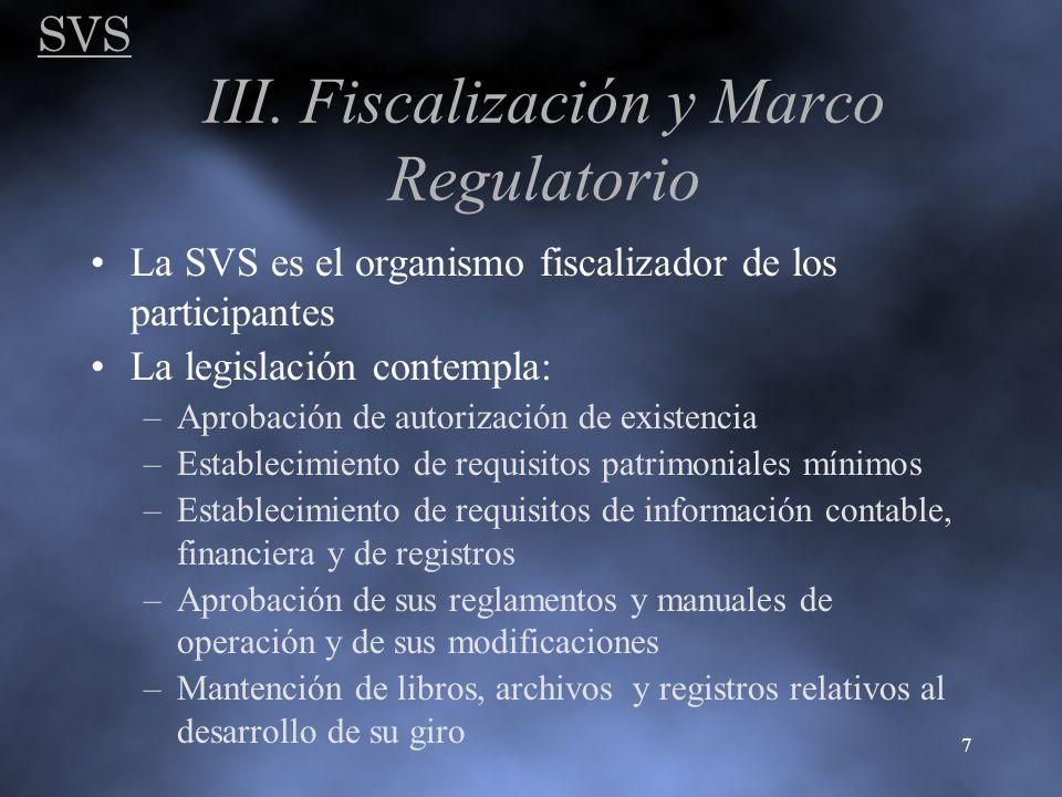 SVS 7 III. Fiscalización y Marco Regulatorio La SVS es el organismo fiscalizador de los participantes La legislación contempla: –Aprobación de autoriz