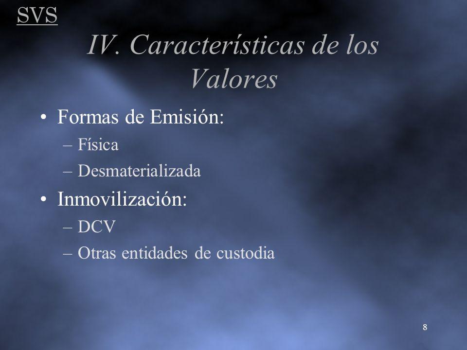 SVS 8 IV. Características de los Valores Formas de Emisión: –Física –Desmaterializada Inmovilización: –DCV –Otras entidades de custodia
