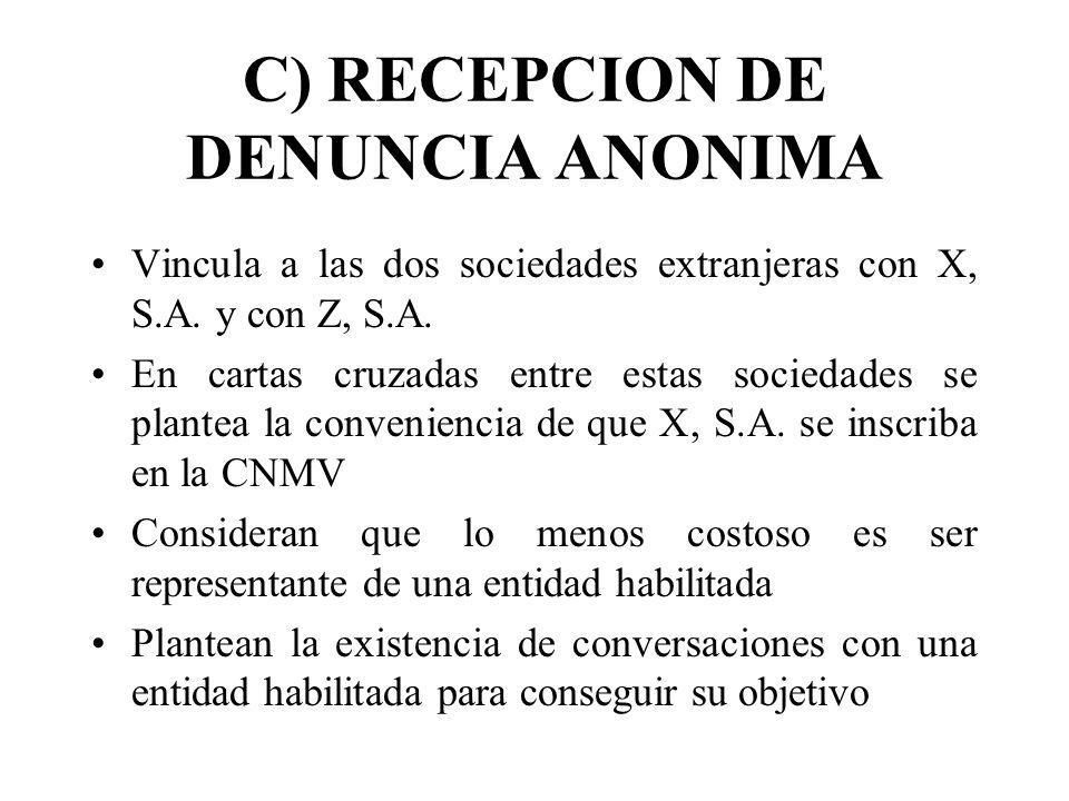 C) RECEPCION DE DENUNCIA ANONIMA Vincula a las dos sociedades extranjeras con X, S.A. y con Z, S.A. En cartas cruzadas entre estas sociedades se plant