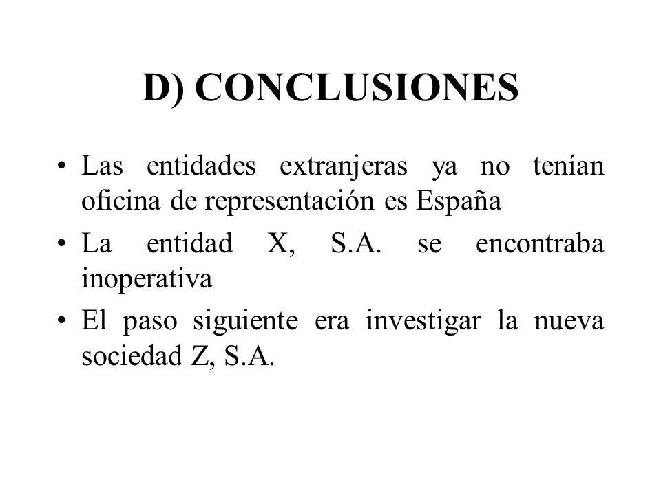 D) CONCLUSIONES Las entidades extranjeras ya no tenían oficina de representación es España La entidad X, S.A. se encontraba inoperativa El paso siguie