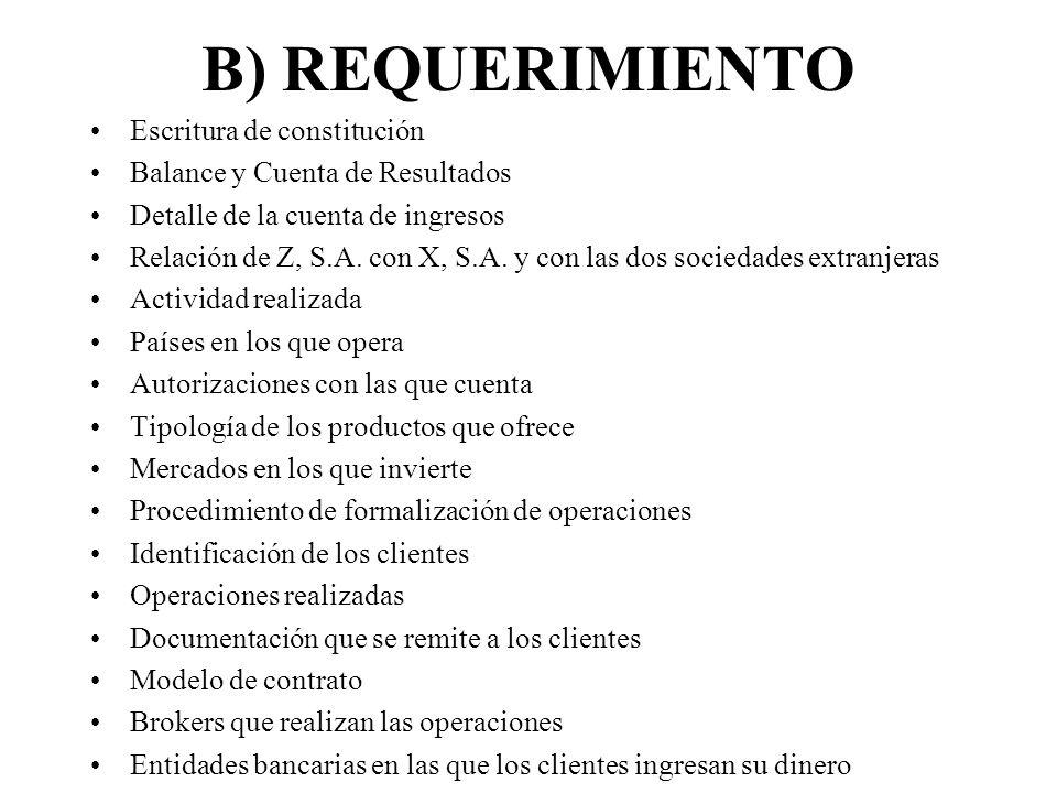 B) REQUERIMIENTO Escritura de constitución Balance y Cuenta de Resultados Detalle de la cuenta de ingresos Relación de Z, S.A. con X, S.A. y con las d