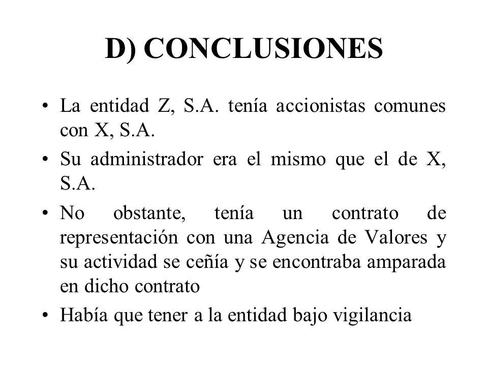 D) CONCLUSIONES La entidad Z, S.A. tenía accionistas comunes con X, S.A. Su administrador era el mismo que el de X, S.A. No obstante, tenía un contrat