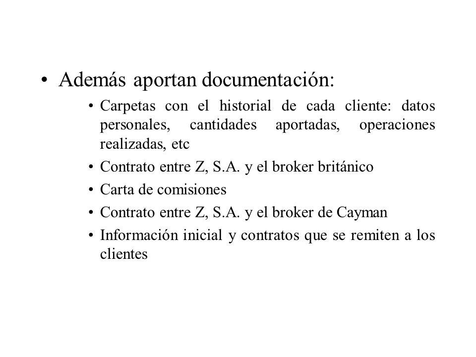 Además aportan documentación: Carpetas con el historial de cada cliente: datos personales, cantidades aportadas, operaciones realizadas, etc Contrato