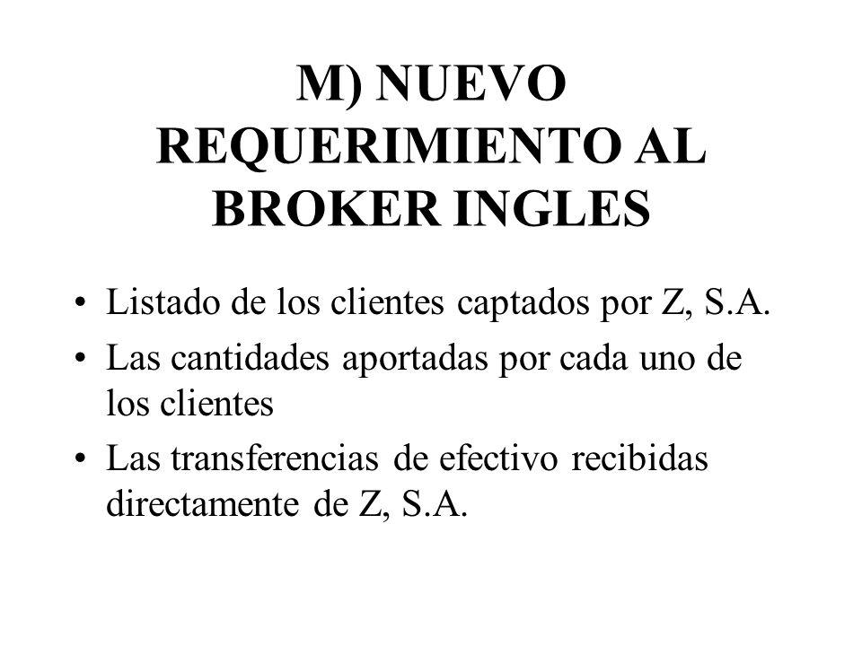 M) NUEVO REQUERIMIENTO AL BROKER INGLES Listado de los clientes captados por Z, S.A. Las cantidades aportadas por cada uno de los clientes Las transfe