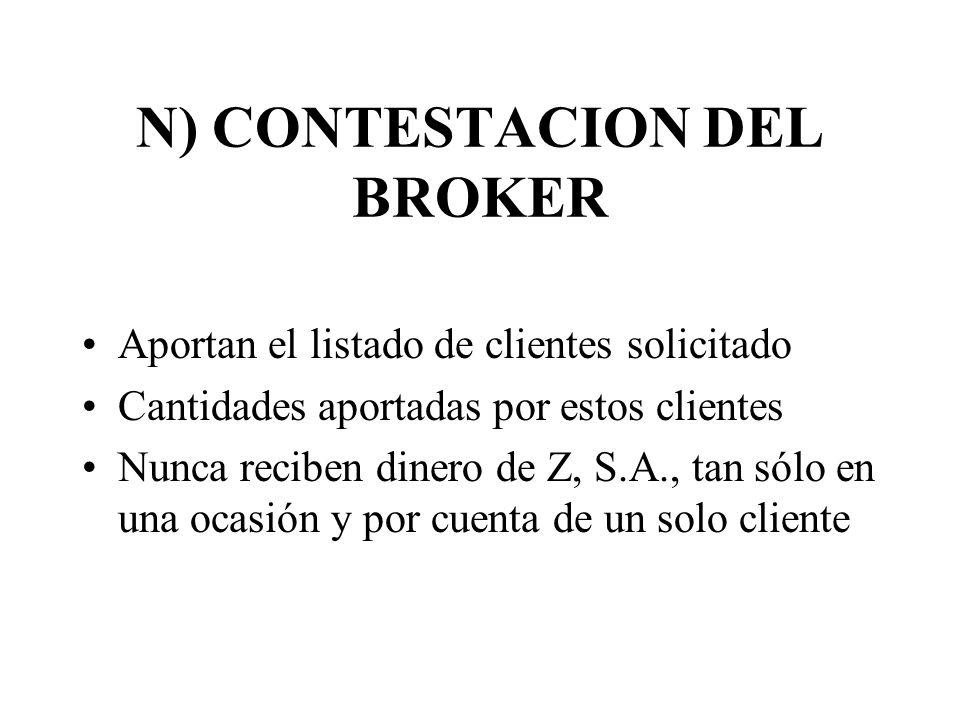 N) CONTESTACION DEL BROKER Aportan el listado de clientes solicitado Cantidades aportadas por estos clientes Nunca reciben dinero de Z, S.A., tan sólo