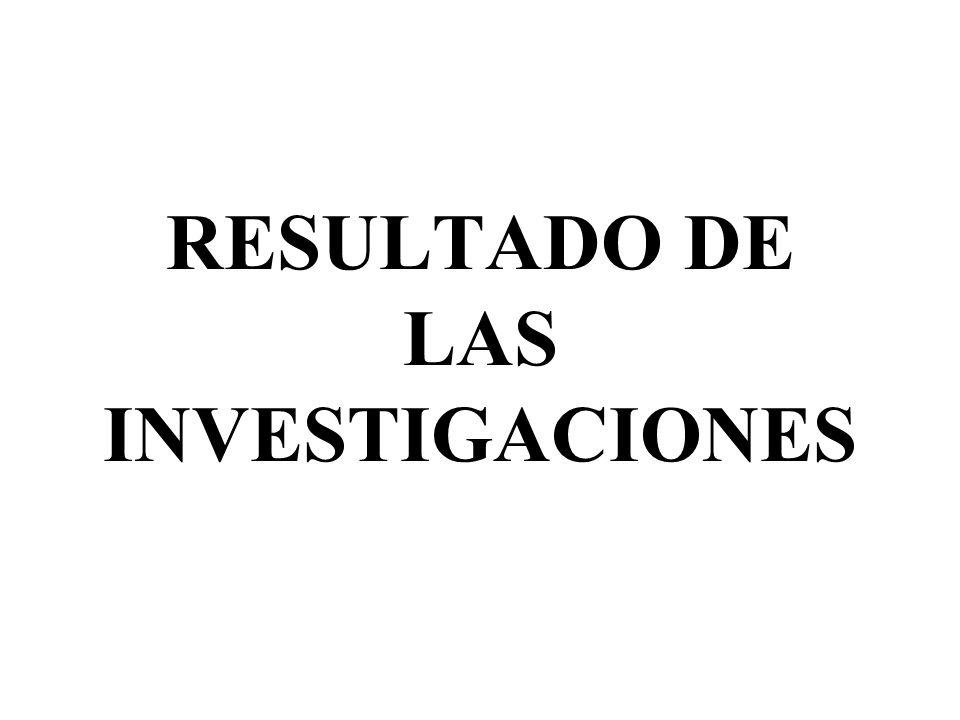 RESULTADO DE LAS INVESTIGACIONES