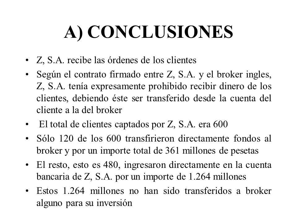 A) CONCLUSIONES Z, S.A. recibe las órdenes de los clientes Según el contrato firmado entre Z, S.A. y el broker ingles, Z, S.A. tenía expresamente proh