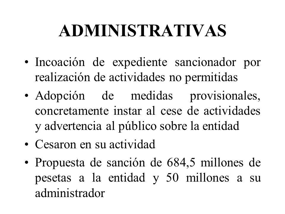 ADMINISTRATIVAS Incoación de expediente sancionador por realización de actividades no permitidas Adopción de medidas provisionales, concretamente inst
