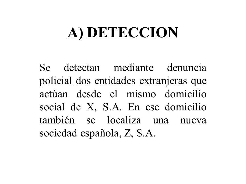 A) DETECCION Se detectan mediante denuncia policial dos entidades extranjeras que actúan desde el mismo domicilio social de X, S.A. En ese domicilio t