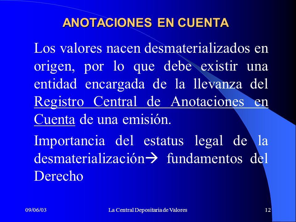 09/06/03La Central Depositaria de Valores12 ANOTACIONES EN CUENTA Los valores nacen desmaterializados en origen, por lo que debe existir una entidad e