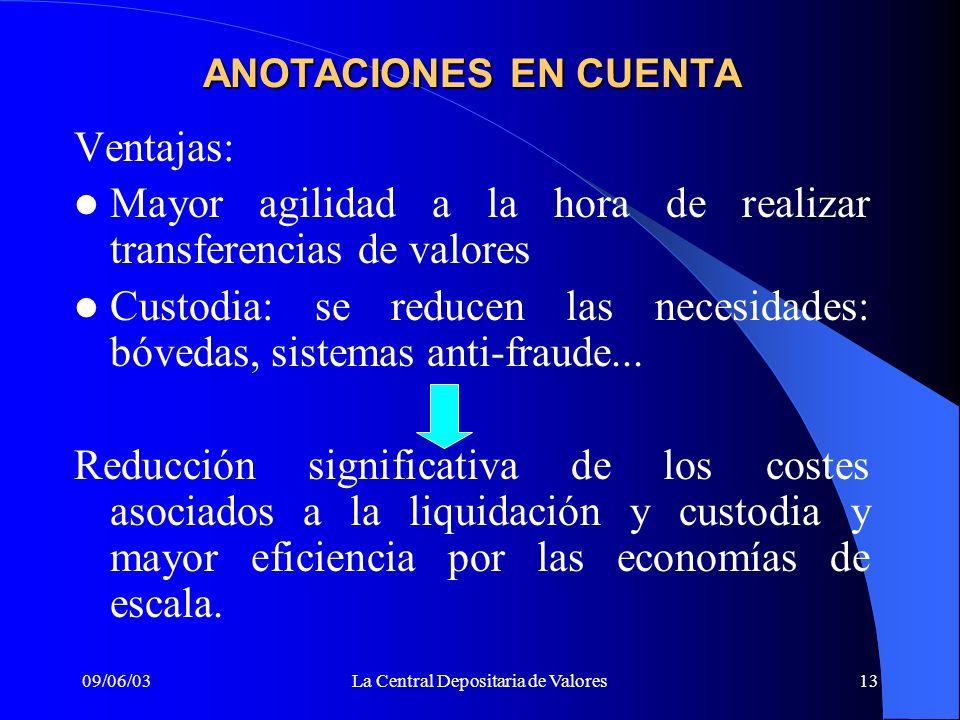 09/06/03La Central Depositaria de Valores13 ANOTACIONES EN CUENTA Ventajas: Mayor agilidad a la hora de realizar transferencias de valores Custodia: s