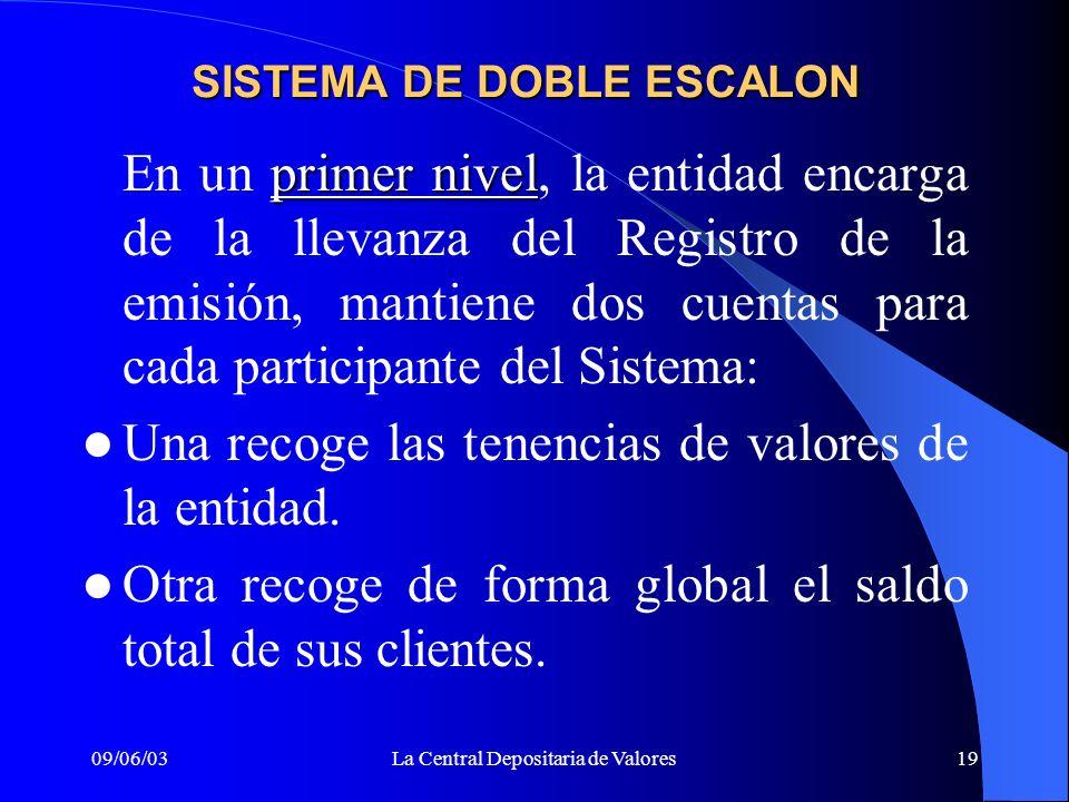 09/06/03La Central Depositaria de Valores19 SISTEMA DE DOBLE ESCALON primer nivel En un primer nivel, la entidad encarga de la llevanza del Registro d