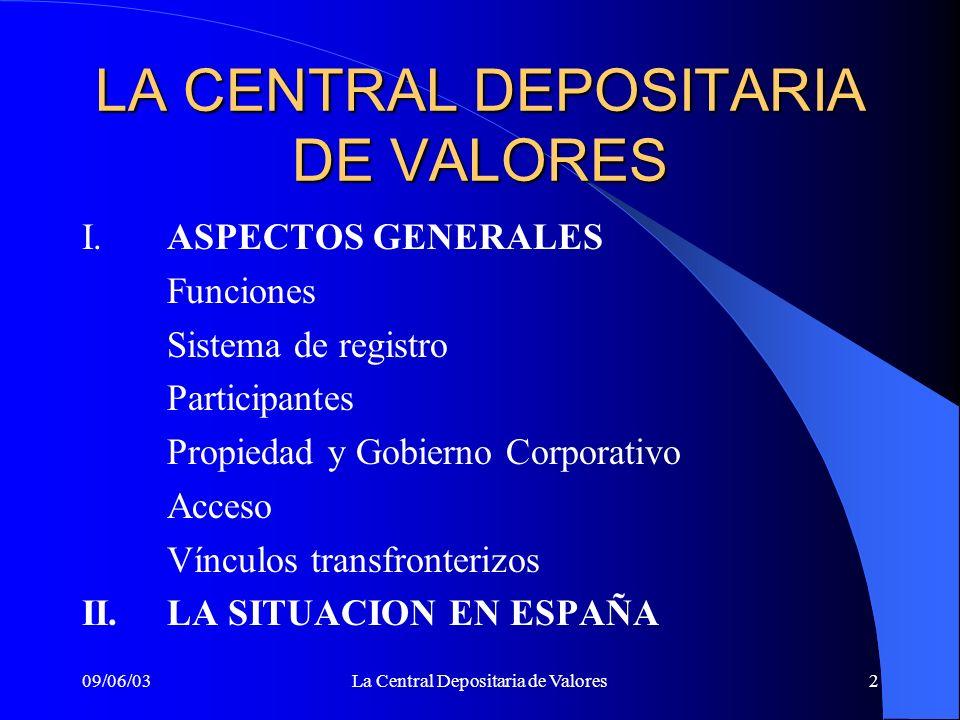 09/06/03La Central Depositaria de Valores2 LA CENTRAL DEPOSITARIA DE VALORES I.ASPECTOS GENERALES Funciones Sistema de registro Participantes Propieda