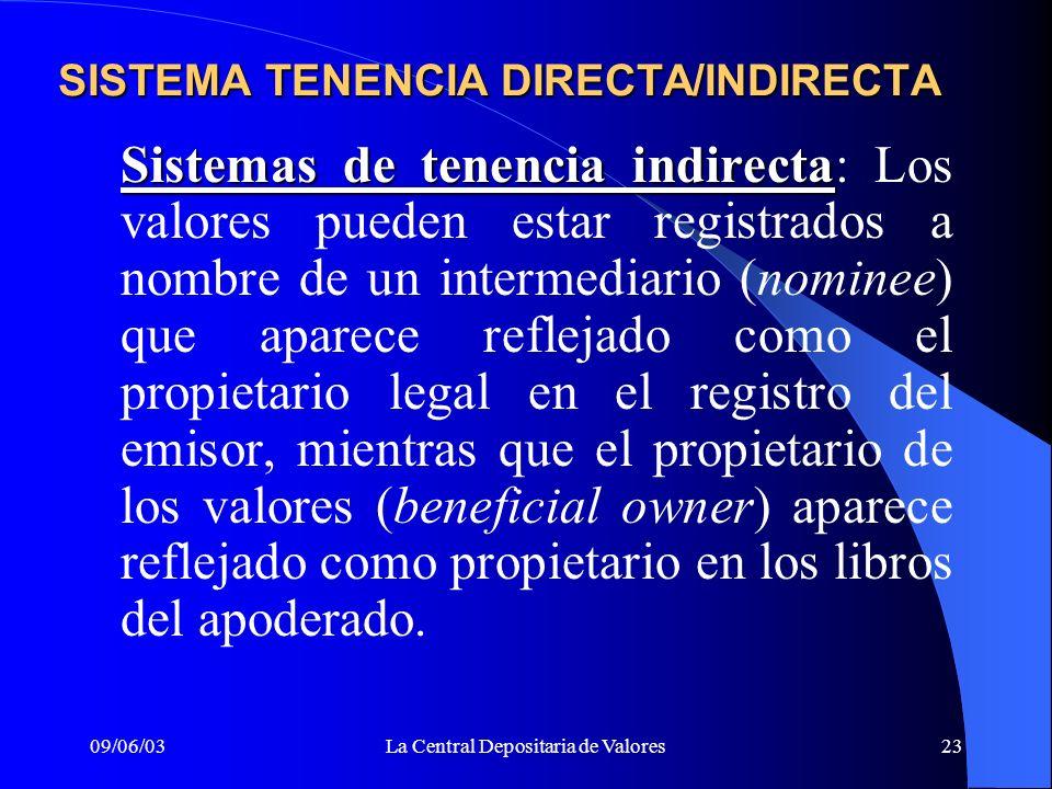 09/06/03La Central Depositaria de Valores23 SISTEMA TENENCIA DIRECTA/INDIRECTA Sistemas de tenencia indirecta Sistemas de tenencia indirecta: Los valo