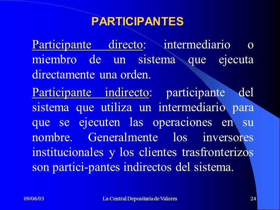 09/06/03La Central Depositaria de Valores24 PARTICIPANTES Participante directo Participante directo: intermediario o miembro de un sistema que ejecuta