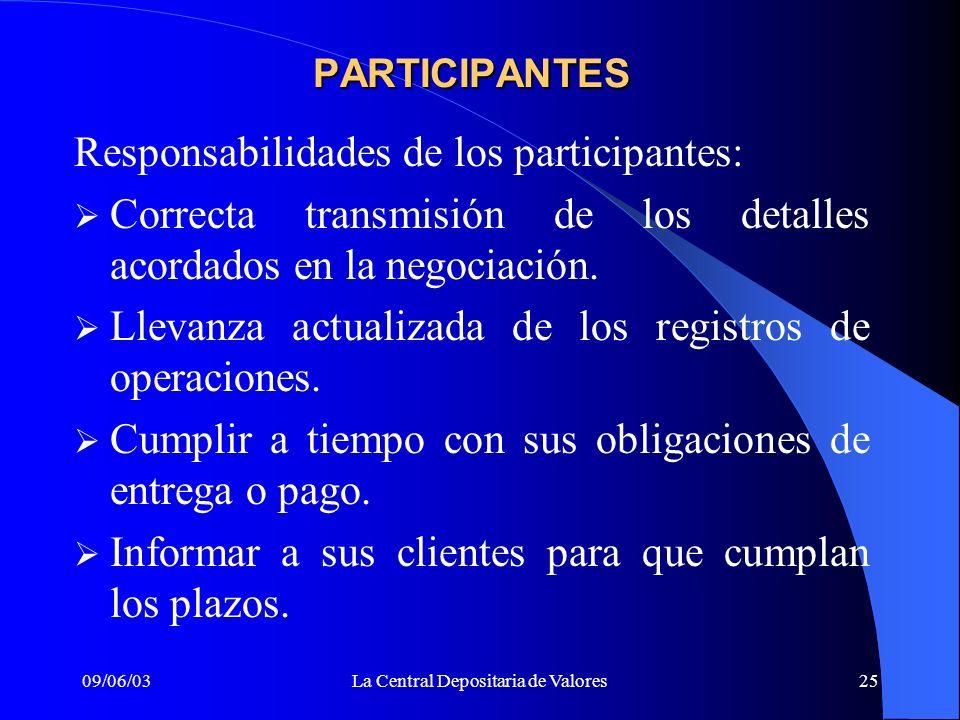 09/06/03La Central Depositaria de Valores25 PARTICIPANTES Responsabilidades de los participantes: Correcta transmisión de los detalles acordados en la