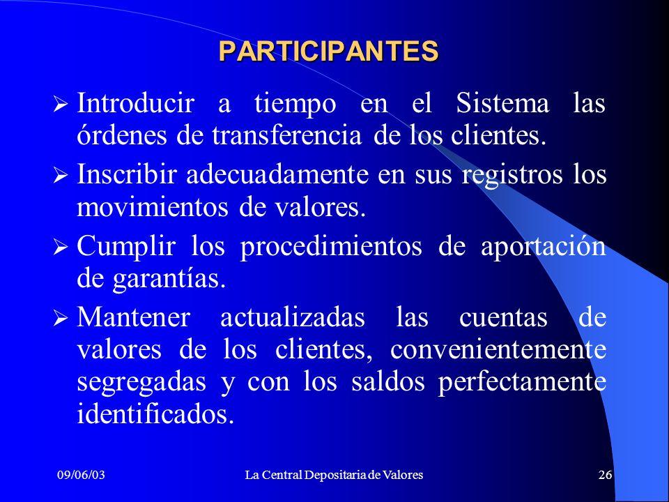 09/06/03La Central Depositaria de Valores26 PARTICIPANTES Introducir a tiempo en el Sistema las órdenes de transferencia de los clientes. Inscribir ad