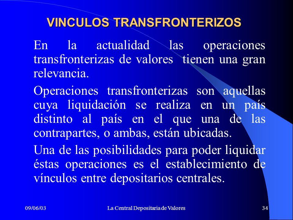 09/06/03La Central Depositaria de Valores34 VINCULOS TRANSFRONTERIZOS En la actualidad las operaciones transfronterizas de valores tienen una gran rel