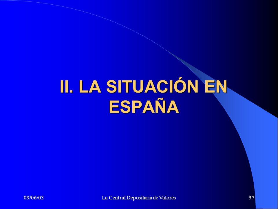 09/06/03La Central Depositaria de Valores37 II. LA SITUACIÓN EN ESPAÑA