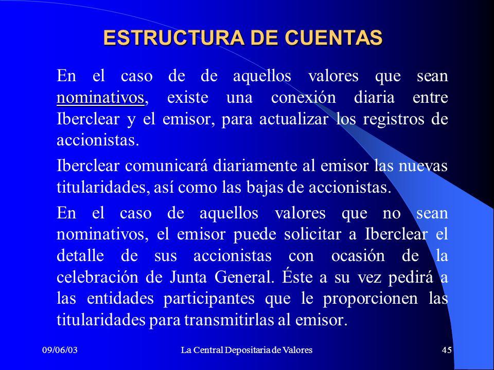 09/06/03La Central Depositaria de Valores45 nominativos En el caso de de aquellos valores que sean nominativos, existe una conexión diaria entre Iberc