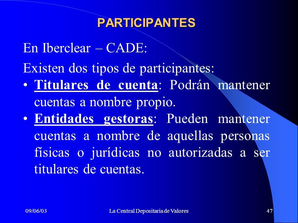 09/06/03La Central Depositaria de Valores47 En Iberclear – CADE: Existen dos tipos de participantes: Titulares de cuenta: Podrán mantener cuentas a no