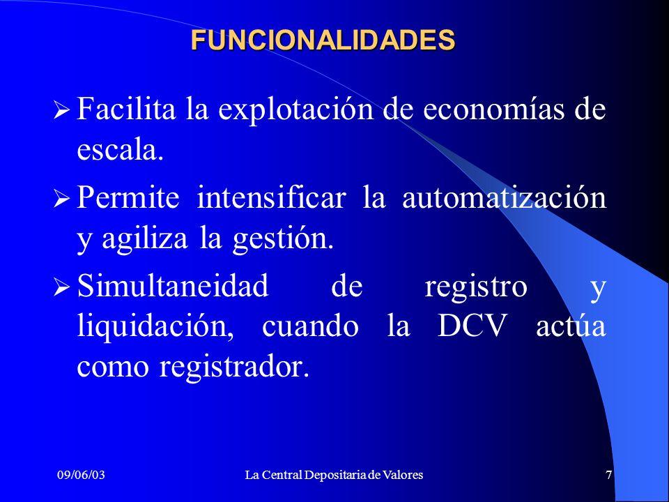 09/06/03La Central Depositaria de Valores7 FUNCIONALIDADES Facilita la explotación de economías de escala. Permite intensificar la automatización y ag