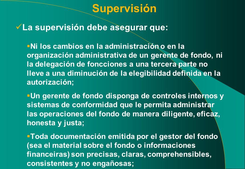 Supervisión La supervisión debe asegurar que: Ni los cambios en la administración o en la organización administrativa de un gerente de fondo, ni la de
