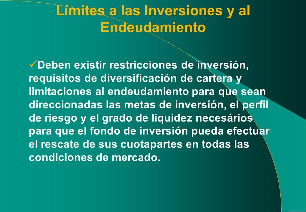 Límites a las Inversiones y al Endeudamiento Deben existir restricciones de inversión, requisitos de diversificación de cartera y limitaciones al ende